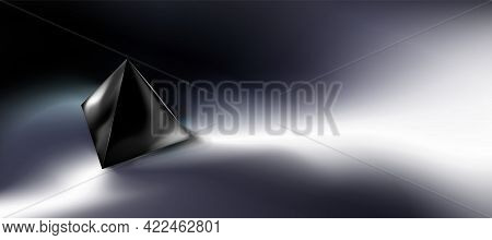Dark Abstract Background, Tech Composition, Black Pyramid 3d In Darkness. Clean Object, Shape. Geome