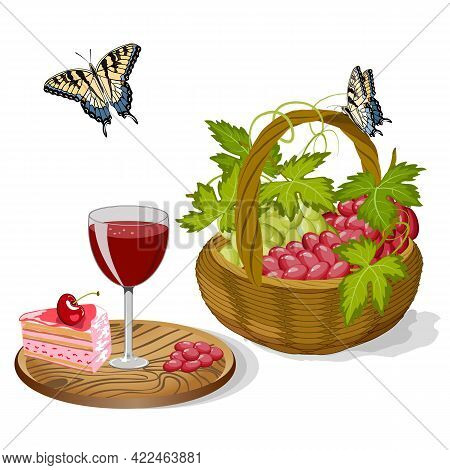 Illustration With Grapes In A Basket.glass On A Stand And Grapes In A Basket In Color Vector Illustr
