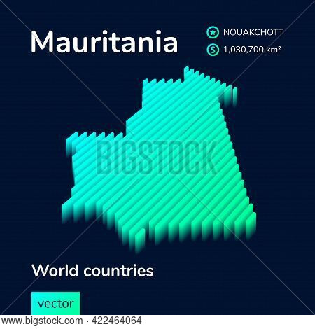 Mauritania Map. Stylized Isometric Neon Striped Vector 3d Map. Map Of Mauritania Is In Green And Min