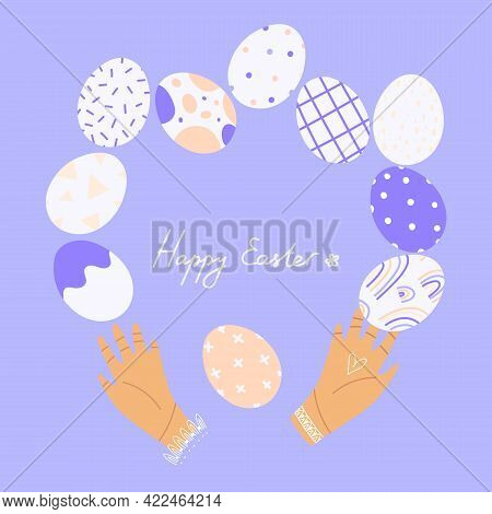 Delicate Happy Easter. Cute Delicate Illustration Of Easter Decorations With Hand Written Greeting P