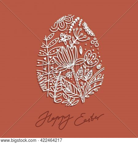 Easter Egg With A Linear Pattern Of Spring Vegetation. Vector Easter Card That Says Happy Easter. Li