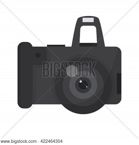 Silhouette With Analog Photo Camera Vector Illustration On White Background.
