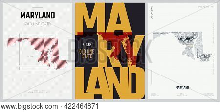 7 Of 50 Sets, Us State Posters With Name And Information In 3 Design Styles, Detailed Vector Art Pri