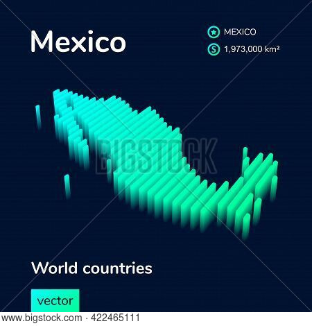 Stylized Striped  Isometric Neon Vector Mexico Map With 3d Effect. Map Of Mexico Is In Green And Min
