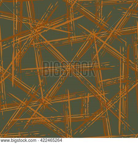 Abstract Vector Weave Irregular Grid. Seamless Pattern Background. Ochre Sage Green Painterly Brush
