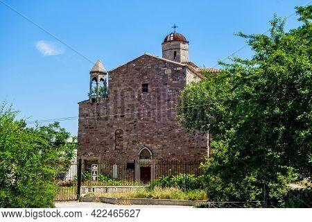 Armenian Medieval Temple Of Archangels Michael And Gabriel, Feodosia, Crimea. Built In 1408. Constru
