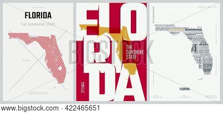 27 Of 50 Sets, Us State Posters With Name And Information In 3 Design Styles, Detailed Vector Art Pr