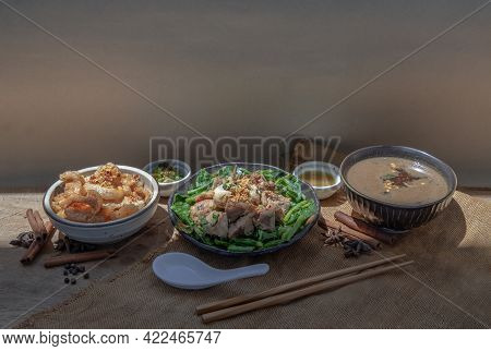 Food Set With Stewed Pork, Pork Crackling And Braised Pork Reb Thick Soup Served With Chilli Fish Sa