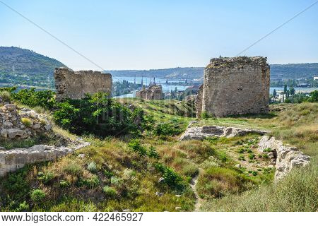 Towers And Walls Of Medieval Fortress Kalamita Near Inkerman, Crimea. It Was Founded In Vi By Byzant