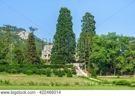 Panorama Of Massandra Palace Surrounded By Natural Fence Of Trees & Plants, Mountains Are On Backgro
