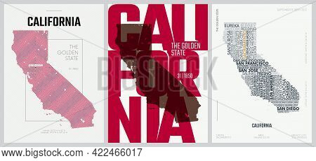 31 Of 50 Sets, Us State Posters With Name And Information In 3 Design Styles, Detailed Vector Art Pr