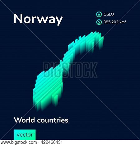 3d Isometric Vector Norway Map In Neon Turquoise Colors On A Dark Blue Background. Stylized Map Icon