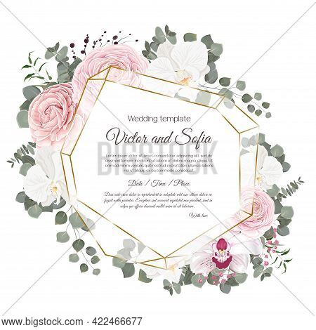 Vector Floral Template For Wedding Invitations. Pink Roses, White Orchids, Berries, Gypsophila, Euca