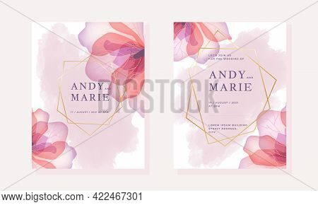 Wedding Invitation Template With Pink Watercolor Background And Tender Flowers