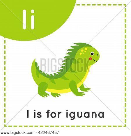 Animal Alphabet Flashcard For Children. Learning Letter I. I Is For Iguana.