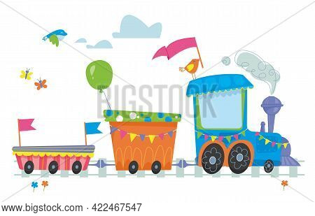 A Cute Baby Train And Carriages Go On The Rails. Print For A Nursery Or Clothing. Vector In Cartoon