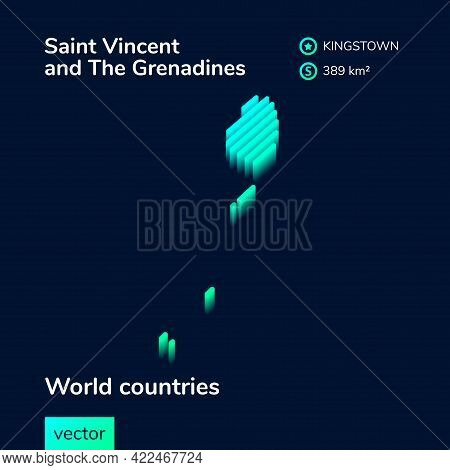 Stylized Striped  Isometric Neon Vector Saint Vincent And Grenadines Map With 3d Effect. Map Of Sain