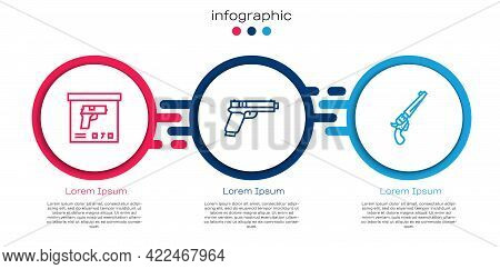Set Line Military Ammunition Box, Pistol Or Gun And Revolver. Business Infographic Template. Vector