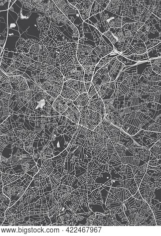 City Map Birmingham, Monochrome Detailed Plan, Vector Illustration