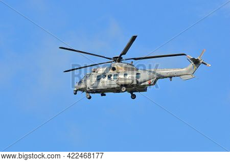 Labuan,malaysia-apr 23,2021:royal Malaysian Air Force Helicopter Eurocopter Ec725 Caracal At Low Lev