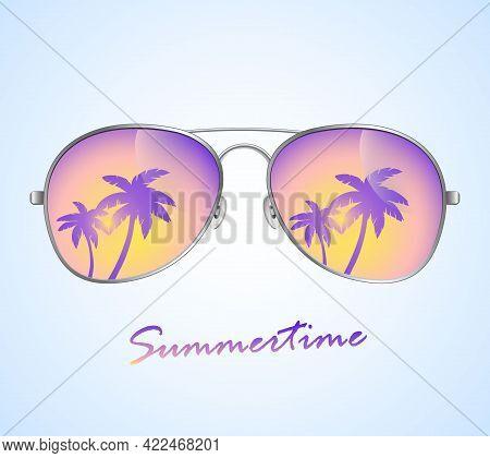 Aviator Sunglasses With Palms Reflection. Sunglasses Vector. Sunglasses Illustration Background