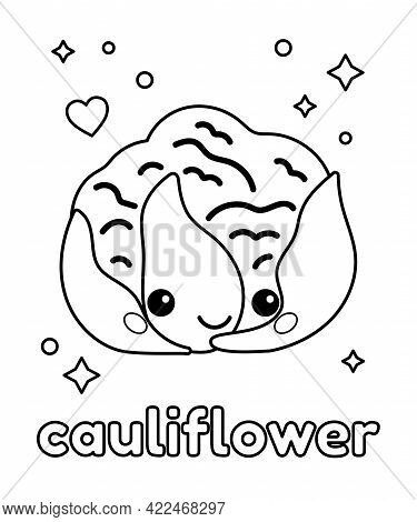 Cute Kawaii Cauliflower For Coloring Book. Outline Black And White Vector Illustration. Healthy Food