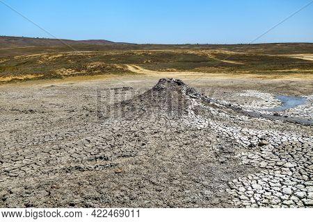 Sopka (hill) Of Tishenko, Mud Volcano That Located In Bulganak Field, Kerch, Crimea. Landscape Aroun