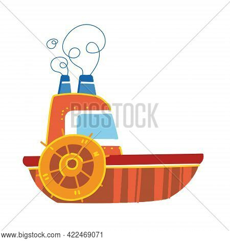 Cute Baby Kids Steamer. Sea Transport. Vector Illustration In Cartoon Style For Children. Isolated F