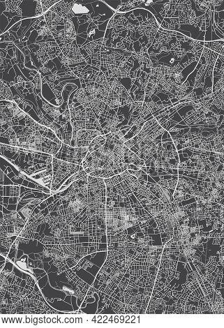 City Map Manchester, Monochrome Detailed Plan, Vector Illustration
