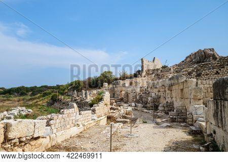 Corridor In Ruined Byzantine Palace In Ancient City Elaiussa Sebaste, Near Kızkalesi, Turkey. There