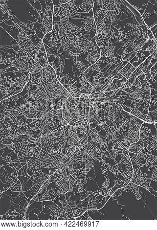 City Map Sheffield, Monochrome Detailed Plan, Vector Illustration