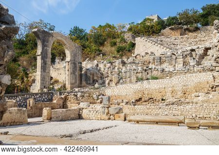 Ruins Of Roman Theater & Remains Of Massive Arch In Ancient City Elaiussa Sebaste, Near Kizkalesi, T