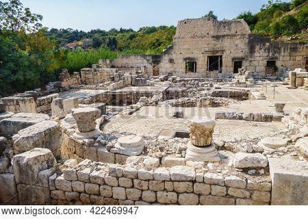 Ruins Of Roman Villa In Ancient City Elaiussa Sebaste, Near Kizkalesi, Turkey. There Are Remains Of