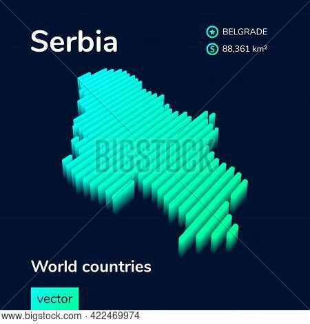 Stylized Striped  Neon Isometric Vector Map Of Serbia With 3d Effect. Map Of Serbia Is In Green And
