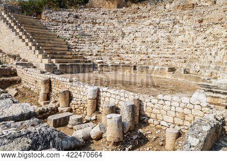 Ruins Of Roman Theater In Ancient City Elaiussa Sebaste, Near Kizkalesi, Turkey. It Was Built In 1 C