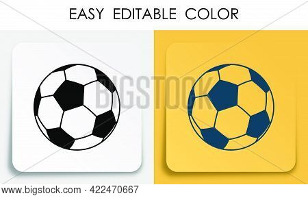 Sports Ball For Soccer, Football Icon On Paper Square Sticker With Shadow. Sport Equipment. Mobile A