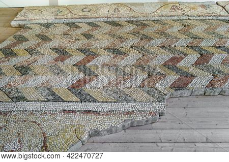 Floor Mosaic Ornaments Of Byzantine Church Of Vi. Authors Are Unknown. There Are Zigzag-shaped Waves
