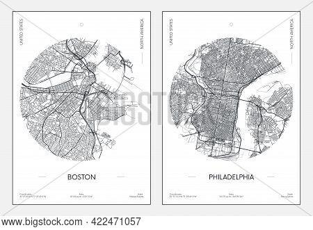 Travel Poster, Urban Street Plan City Map Boston And Philadelphia, Vector Illustration