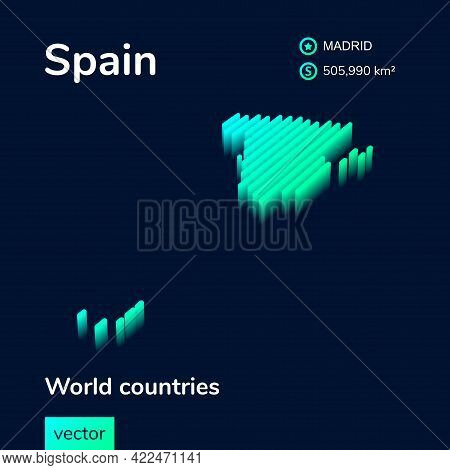 Spain Map. Stylized Isometric Neon Striped Vector 3d Map. Map Of Spain Is In Green And Mint Colors O