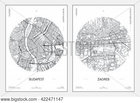 Travel Poster, Urban Street Plan City Map Budapest And Zagreb, Vector Illustration