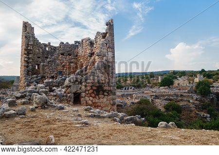 Remains Of Hellenistic Tower In Ancient City Canytelis Or Kanlıdivane, Ayaş, Turkey. Tower Was Dedic