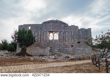 Remains Of Church In Ancient City Canytelis Or Kanlıdivane, Ayaş, Turkey. City Was Provincial Christ