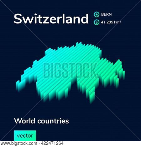 Stylized Striped Neon Isometric Vector Switzerland Map With 3d Effect. Map Of Switzerland  Is In Gre