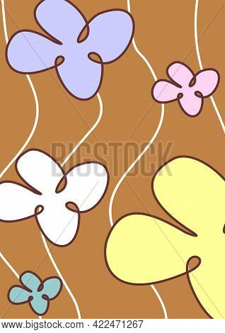 Linear Drawing. Drawing With Lines. Doodle. Floral Print. Background With Flowers. Butterflies. Line