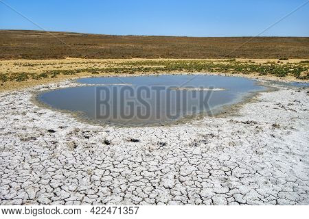 Lake With Volcanic Origins In Valley Of Mud Volcanos, Kerch, Crimea. It Has Own Eruptions In Form Of
