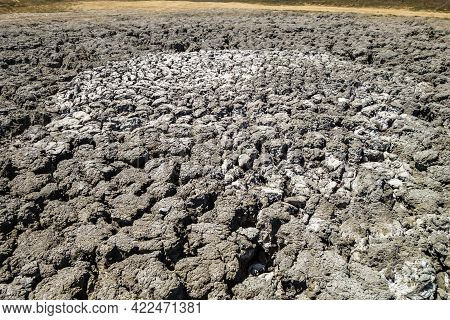 Center Of Crater Of Big Mud Volcano (light Grey Color). It 'sleeps' After Series Of Eruptions. Remai