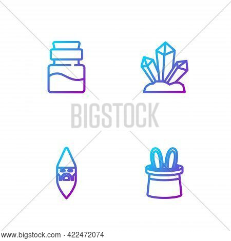 Set Line Magician Hat And Rabbit Ears, Wizard Warlock, Bottle With Potion And Stone. Gradient Color