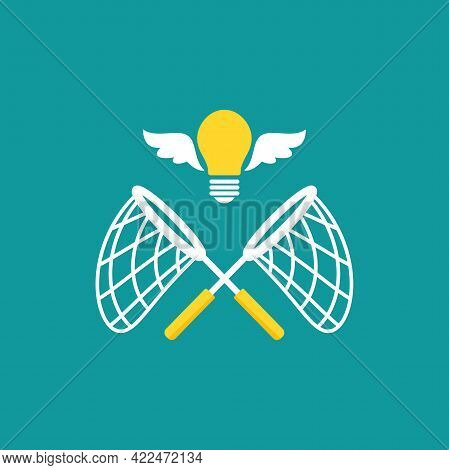Crossed Butterfly Nets With Flying Bulbs. Catch, Hunt, Chase Ideas And Solutions Symbol. Inspiration