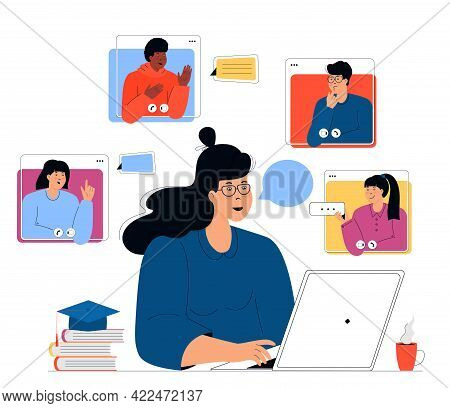 Online Education. Distance Learning. Female Teacher Giving Lesson On Laptop. Tutor Having Web Confer