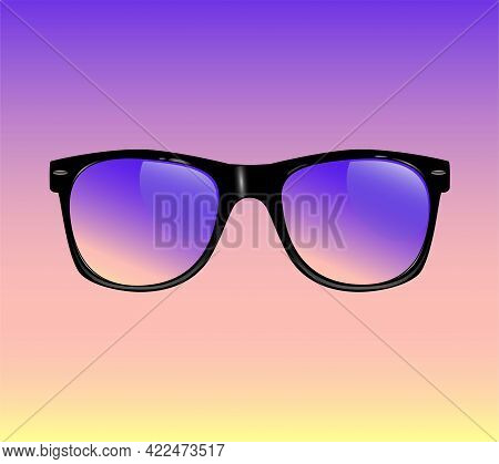 Realistic Vintage Sunglasses Isolated Vector Illustration Realistic Vintage Sunglasses Isolated Vect